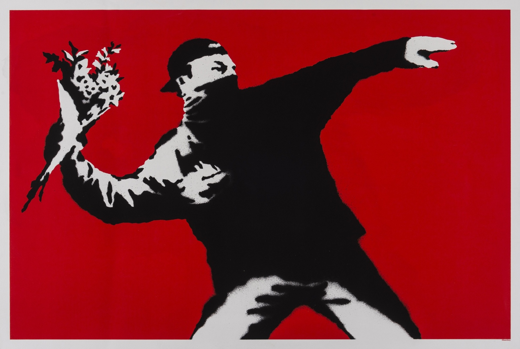 Banksy (b.1974) Love is in the Air (Flower Thrower)