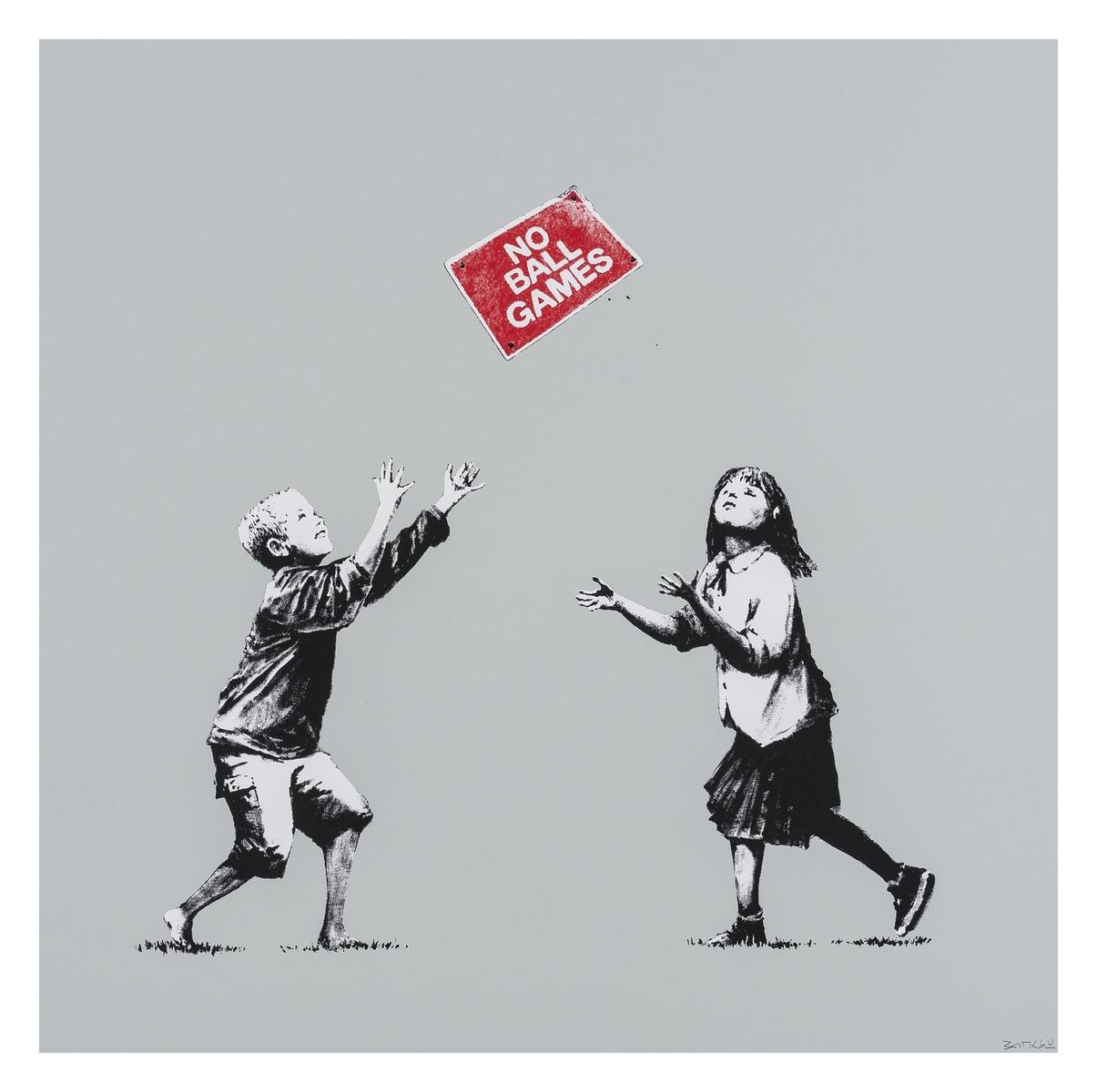 Banksy (b.1974) No Ball Games (Grey)