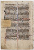 Bible, Latin. Single leaf from the Psalms, decorated manuscript on vellum, double column, written …