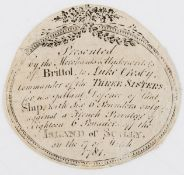 Maritime.- French privateer defeated off the Scilly Isles.- Rare presentation label, [Bristol], …