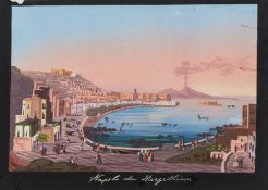 Italy.- Neapolitan School (19th century) Three views of Naples, Capri, and Santa Lucia, …