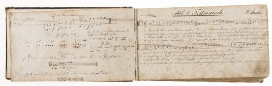 German Music Manuscript, music and lyrics comprising 152 numbered pieces, late 18th - early 19th …