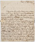 Cornwall.- Webber (Philip, attorney, of Falmouth) Autograph Letter signed to Joseph Kirke of …