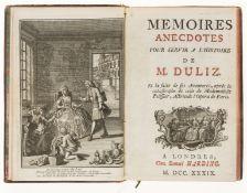 """Judaica.- [Desforges.] Memoires Anecdotes pour servir a l'Histoire de M.Duliz..., """"Londres"""" [?The …"""