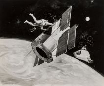 Collection of artists' concept designs, c.1964-66; and 3 diagrams, illustrating the Apollo Lunar …