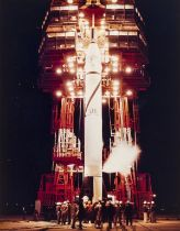 Explorer 1.- The first Earth satellite tops the Jupiter-C rocket before its launch, 31 January …
