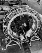 Technicians at work on prototypes of the Apollo Command and Service Modules, 1960s, vintage …