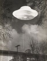 U.F.O.- A Flying Saucer, or a still from a science fiction film, c.1955, vintage gelatin silver …