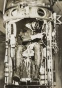 Project Manhigh.- Joseph Kittinger in the capsule which will take him by balloon to a record …