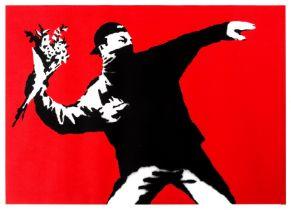 Banksy (b.1974) Love is in the Air (Flower Thrower)
