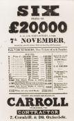19th century Lotteries.- Six Prizes of £20,000... in the State Lottery... by Carroll …