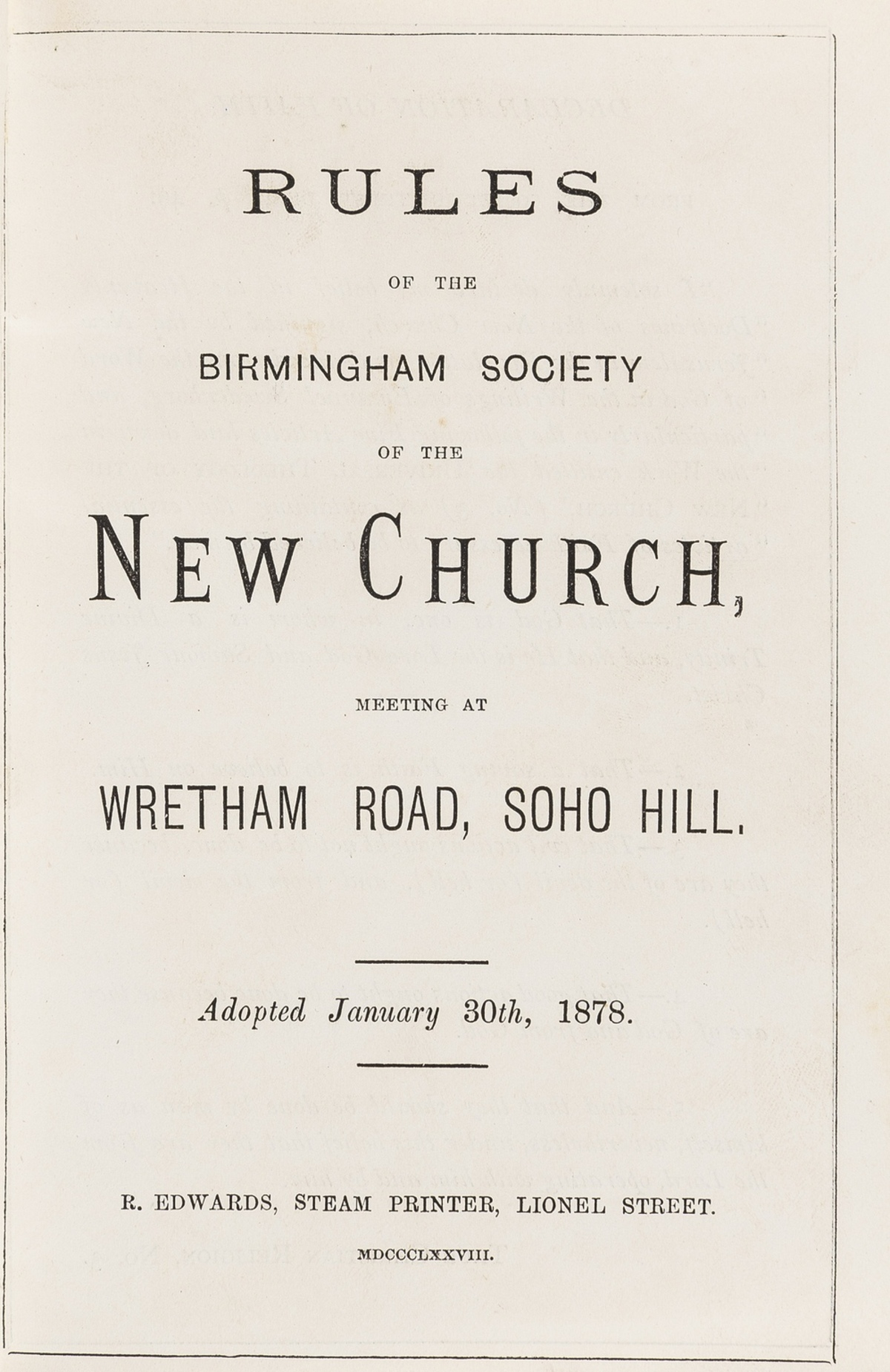 Swedenborgianism.- Birmingham.- Manual of the New Church, Wretham Road, c.100 issues bound in 30 … - Image 2 of 2