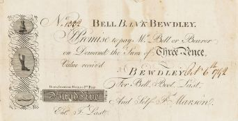 18 century Bootmaker's advertisement in the form of a banknote.- Bell Bank Bewdley, Promise to …