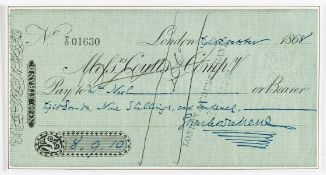 """Dickens (Charles) Autograph cheque signed paid to """"Mr Nash"""", 1868."""