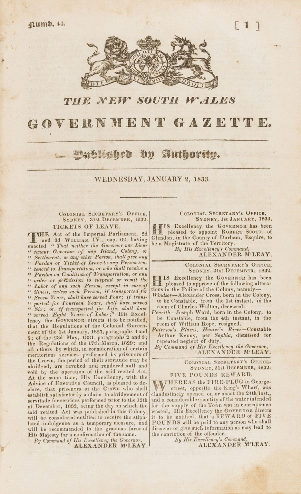 Australia.- New South Wales.- New South Wales Government Gazette, vol.2, numbers 44-95, in 1 vol., …