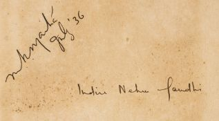 India.- Nehru (Jawaharlal) An Autobiography, signed by the author and Indira Gandhi, 1936.