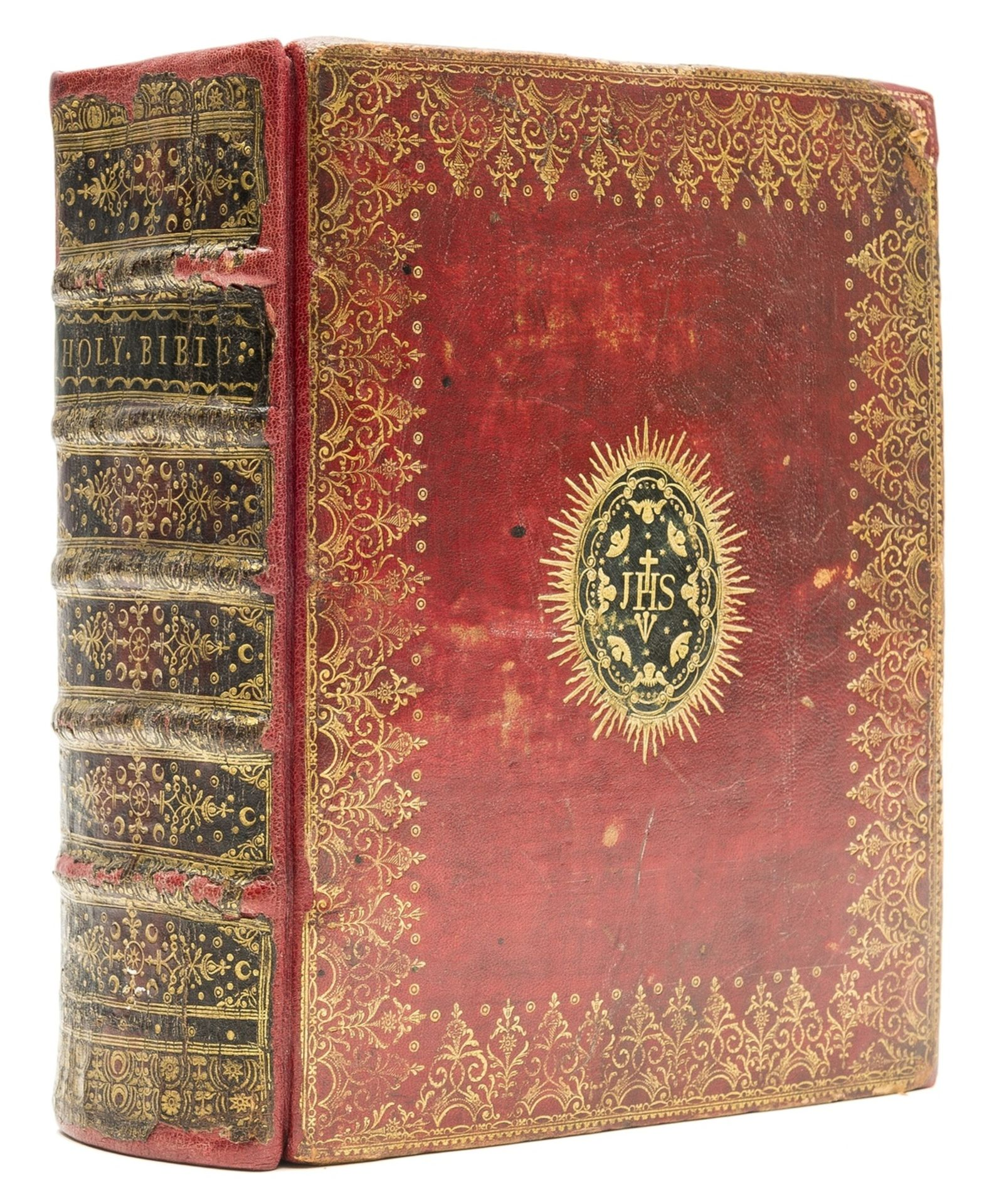Binding.- Book of Common Prayer (The) bound with Holy Bible, handsome contemporary red morocco, …