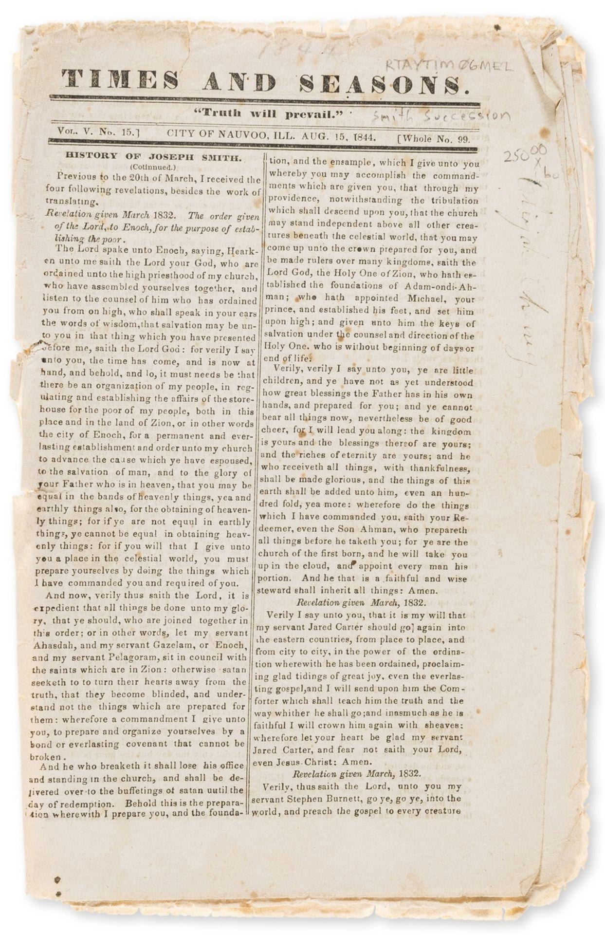 America.- Mormonism.- Smith (Joseph) [The King Follett Sermon], Nauvoo, IL, 1844.