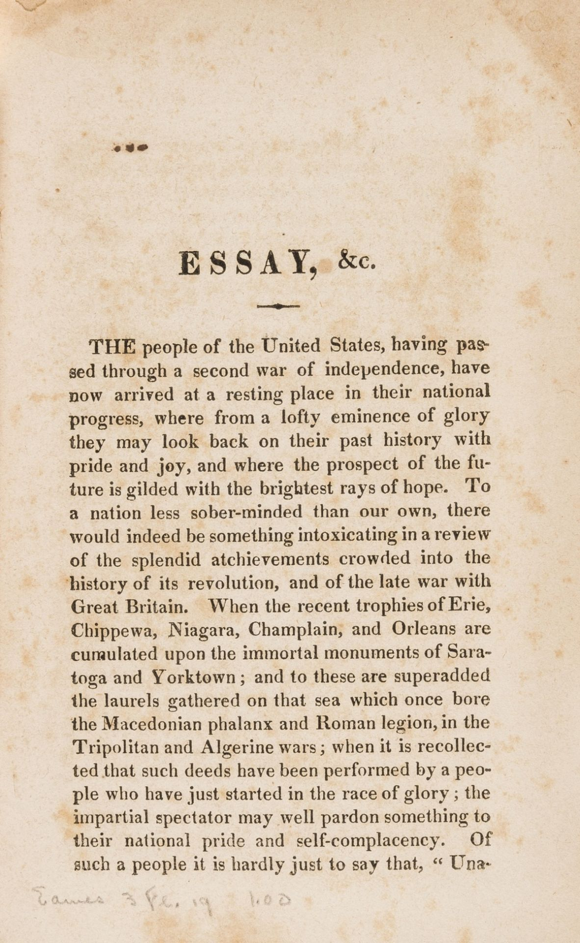 America.- An Essay on the means of maintaining the commercial and naval interests of the United …