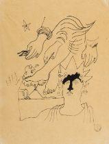 Jean Cocteau (1889-1963) Composition Surréaliste - Personnage Surmonté de Mains et Jambes Pen and …