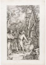 Old Master Print from Chatsworth.- Salvator Rosa (1615-1673) Diogenes casting away his bowl