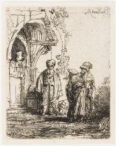Rembrandt van Rijn (1606-1669) Three Oriental Figures (Jacob and Laban?)
