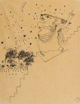 Jean Cocteau (1889-1963) La Tragédie Descendant des Degrés Pen and ink on tissue thin paper, 1924, …