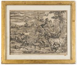 Nicolò Boldrini (ca. 1500-1566) Landscape with a milkmaid at right and a boy at left, after …
