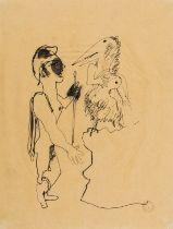 Jean Cocteau (1889-1963) Œdipe Recontrant Un Monstre Mi-Femme, Mi-Oiseau Pen and ink on tissue …