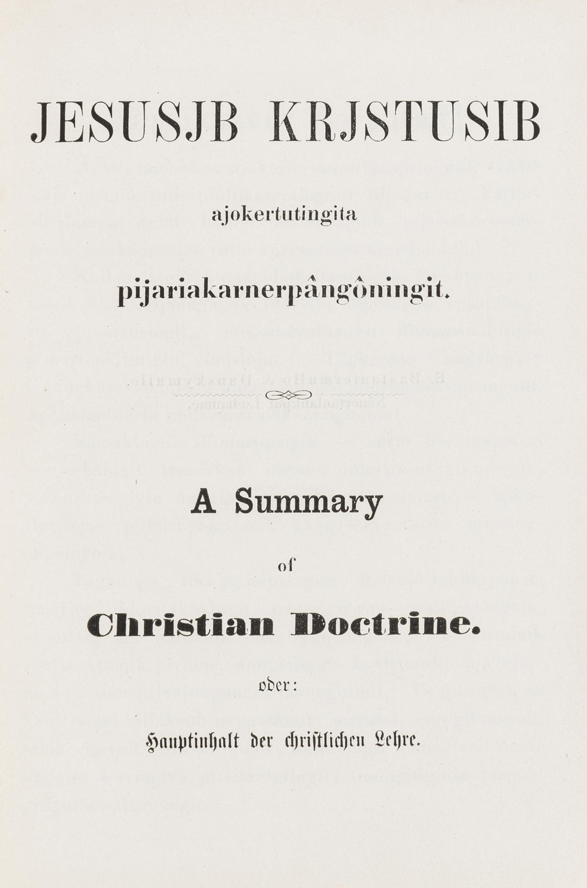 Inuktitut language.- Jesusjb Krjstusib ajokertutingita pijariakarnerpangoningit, Lobau, E. …