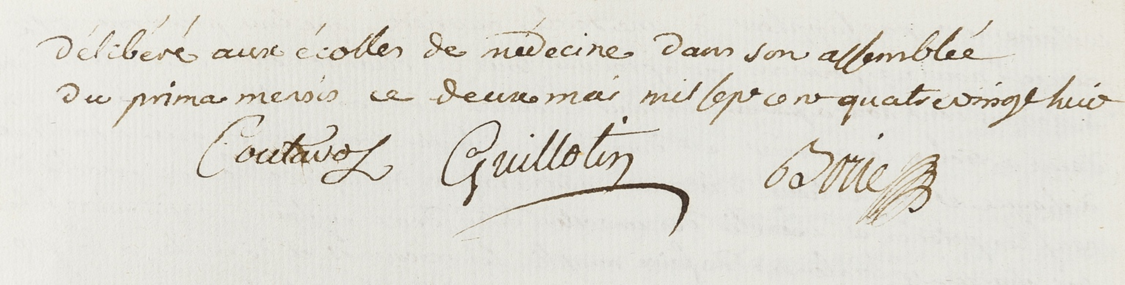 Guillotin (Joseph-Ignace), Philibert Borie & ?Coutaros. Joint Address to a meeting on the …