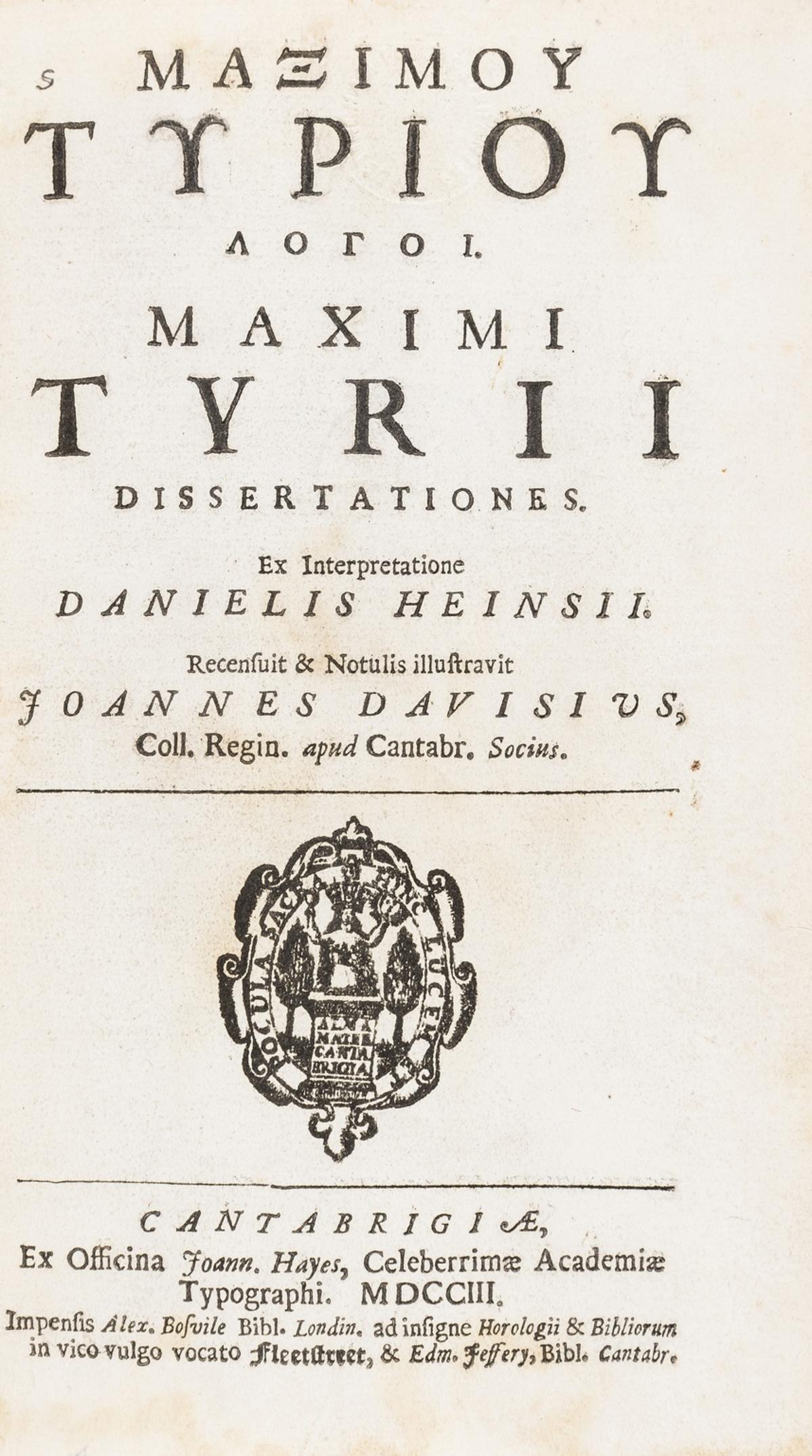 Tyrius (Maximus) Dissertationes ..., Gilbert Wakefield's copy, text in Latin and Greek, Cambridge, …