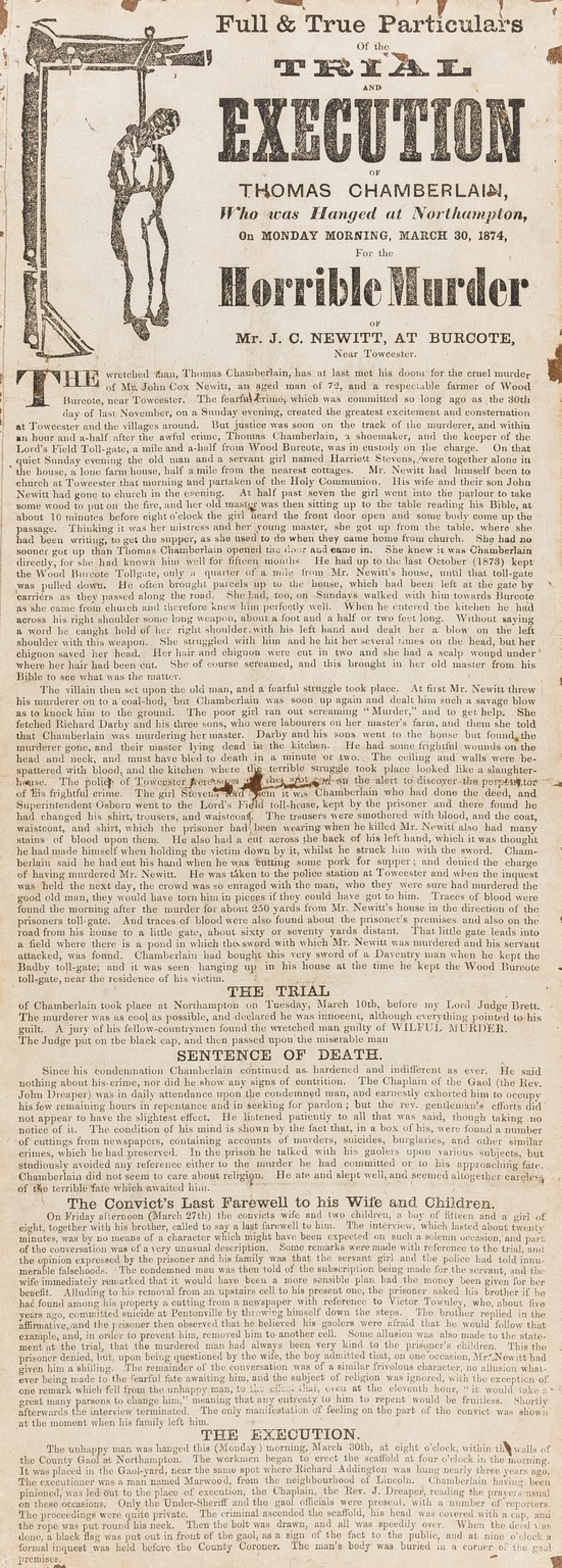 Northamptonshire.- Murder.- Full & True Particulars of the Trial and Execution of Thomas …