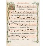 Music.- Four 18th century antiphonal folio leaves with manuscript borders, engravings with …