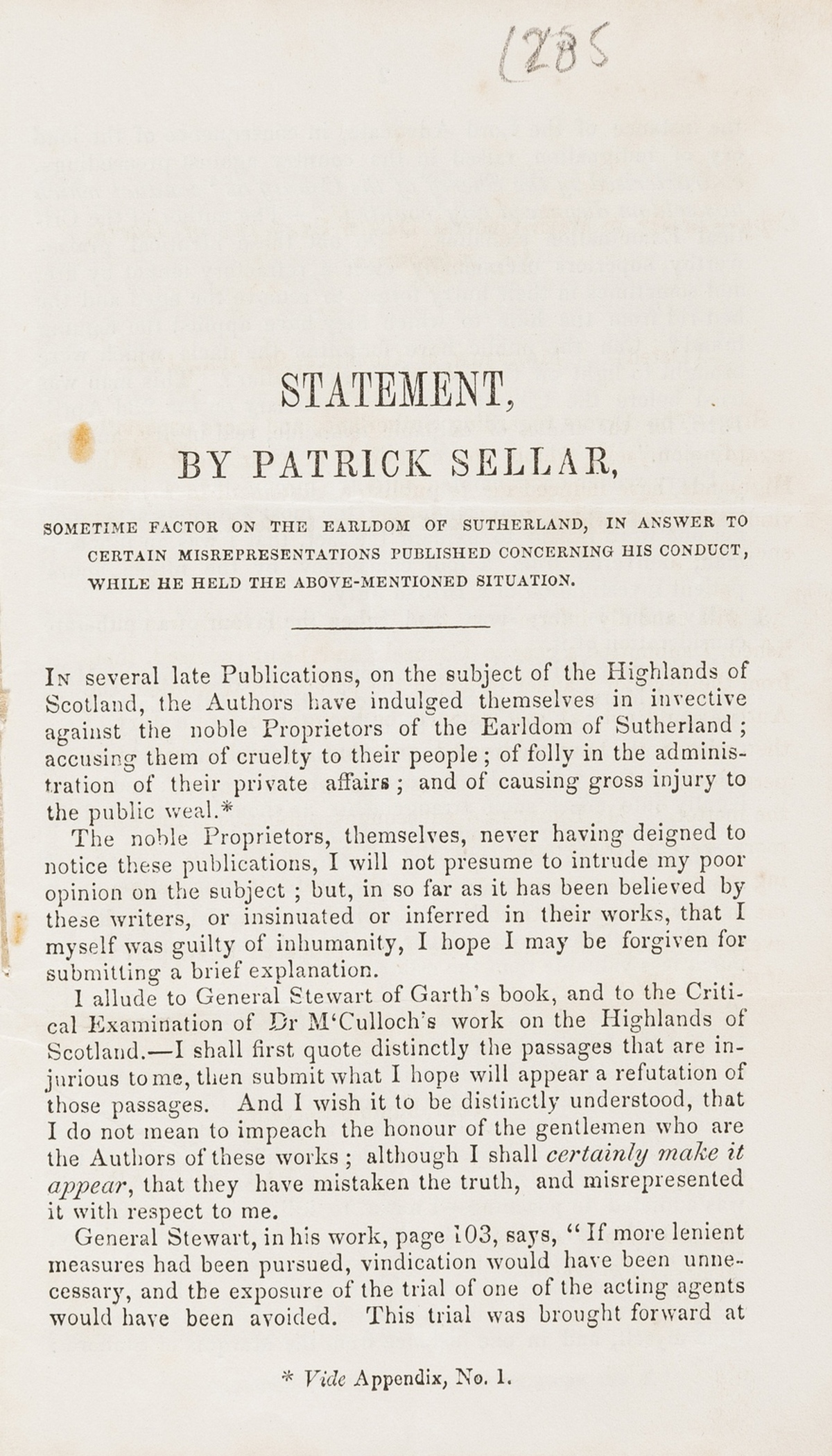 Trial.- Sellar (Patrick) Statement...sometime factor of the Earldom of Sutherland, in answer to …