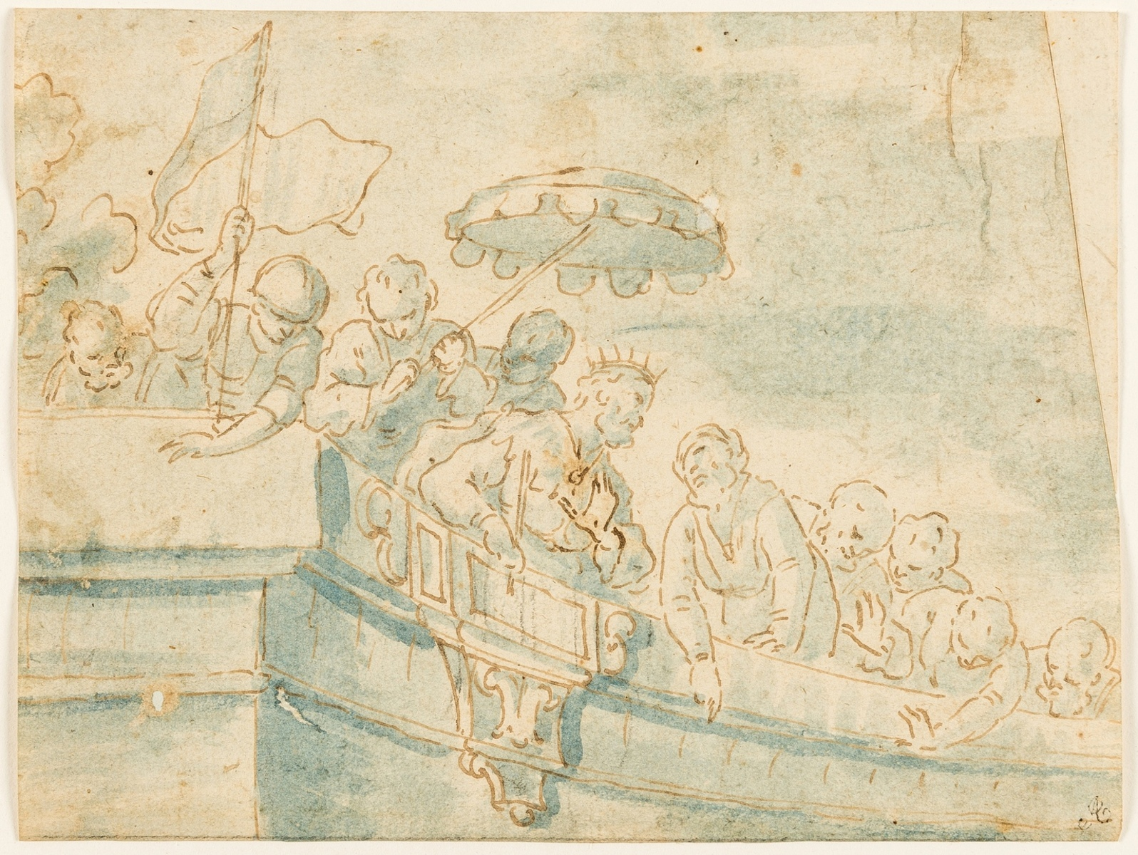 Venetian School (probably 16th century) A King and his attendants above a crowd