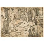 Monogrammist G.N. (active c. 1550-1650) Reclining nude [?Ulysses], possibly after Francesco …