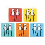 Stik (b.1979) Holding Hands (Red, Yellow, Orange, Blue & Teal)
