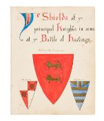 Heraldry.- Ye Shields of ye principal Knights in arms at ye Battle of Hastings, 48 watercolour …