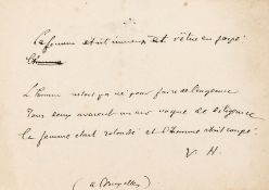 """Hugo (Victor) Autograph Note initialled """"V.H."""", [c. 1851], in French, """"the woman was immense and …"""