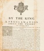 Scotland.- Charles I. A Proclamation Anent the Weight of Dollars, woodcut royal coat of arms at …