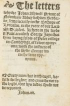 Lutheranism.- Joye (George) The Letters whyche Johan Ashwell Priour of Newnham Abbey besydes …