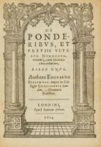 Numismatics.- Brerewood (Edward) De Ponderibus, et Pretiis Veterum Nummorum, eorumque; cum …