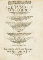 Cosin (Richard) An Apologie for Sundrie Proceedings by Jurisdiction Ecclesiasticall, second …