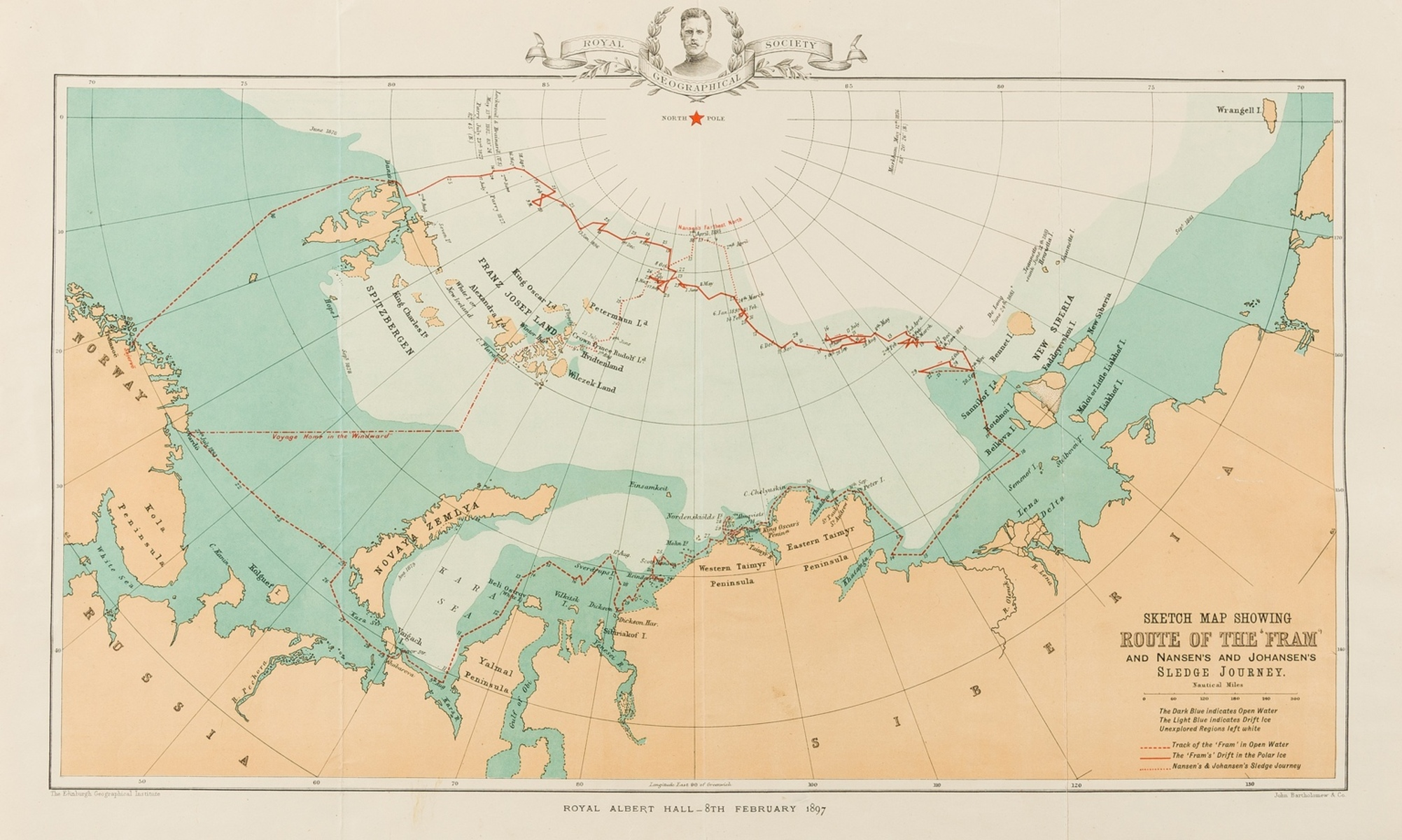 Polar.- Royal Geographical Society.- Sketch Map Showing Route of the 'Fram' and Nansen's and …