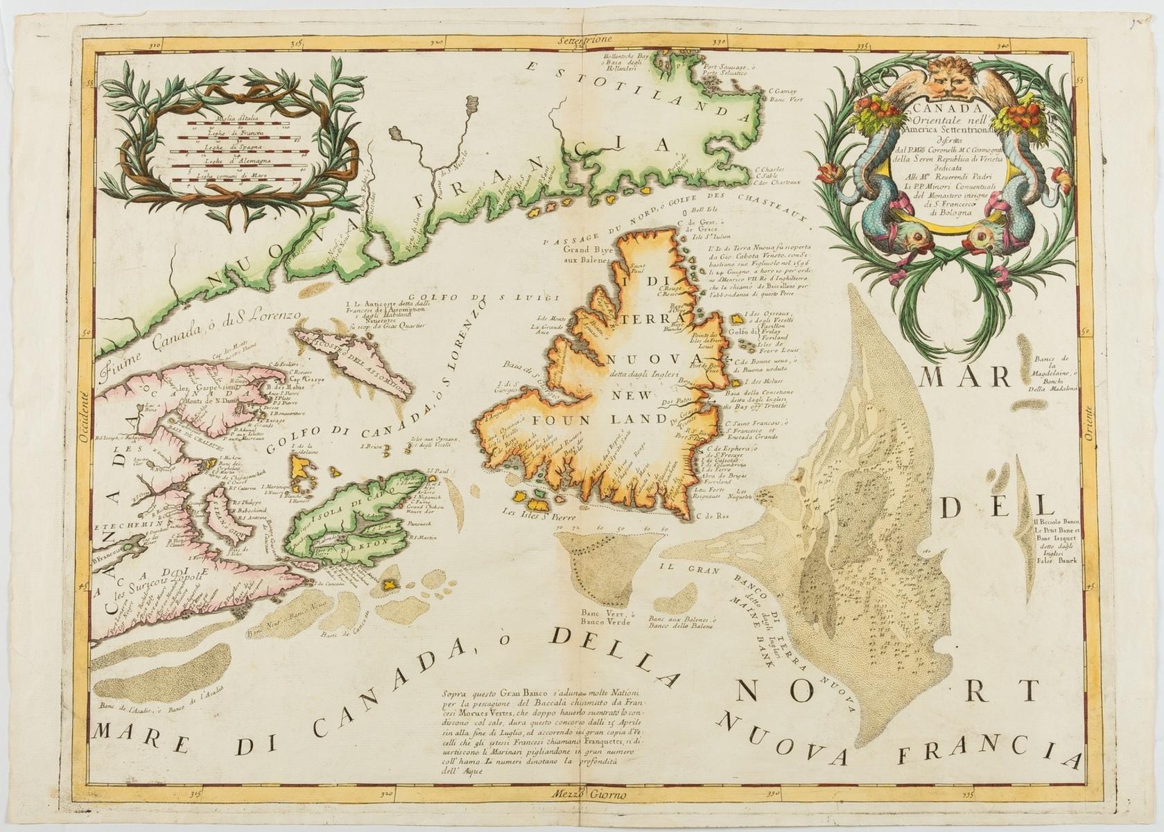 Canada.- Coronelli (Vincenzo Maria) Canada Orientale nell' America Settentrionale Descritta..., …