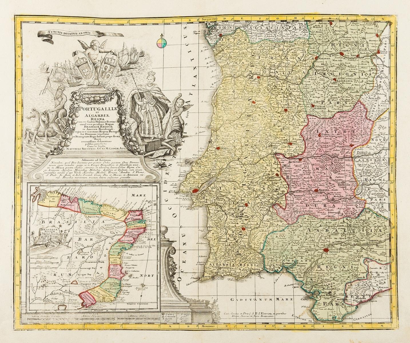 Portugal & Brazil.- Seutter (Matthäus) Portugalliae et Algarbiae Regna cum Confinibus Hispaniae …