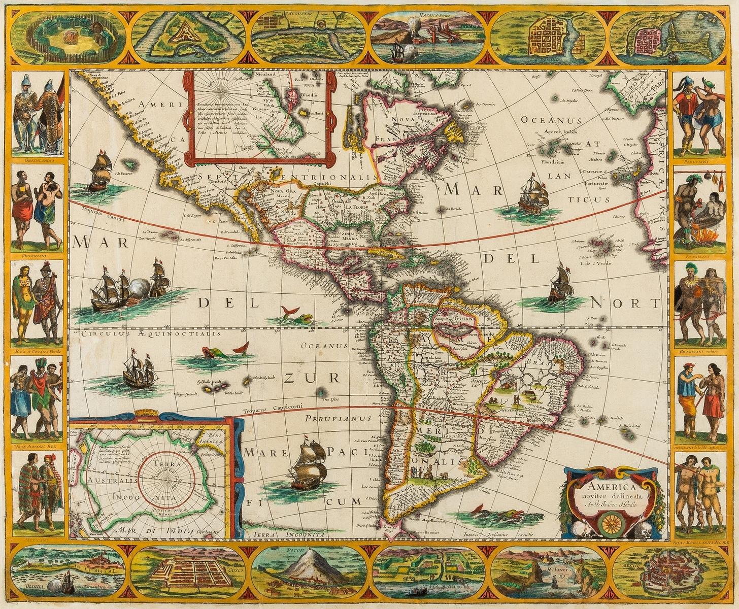 America.- Jansson (Jan) and Jodocus Hondius. America noviter delineata, [circa 1623-1632].