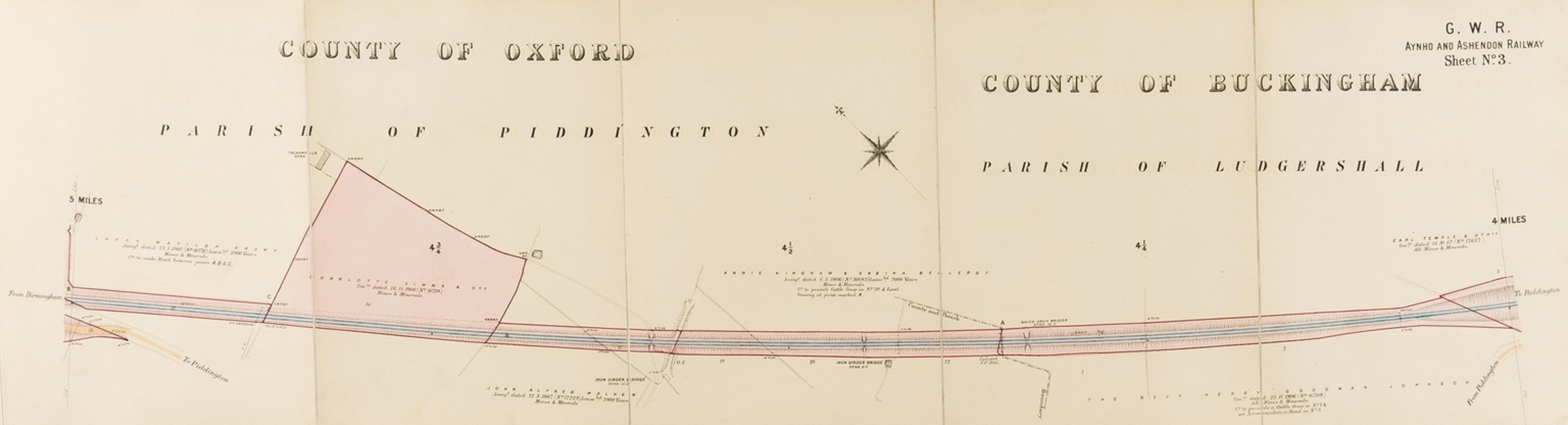 Railways.- Great Western Railway.- [Aynho & Ashendon Line], 2-chain scale line survey in two …