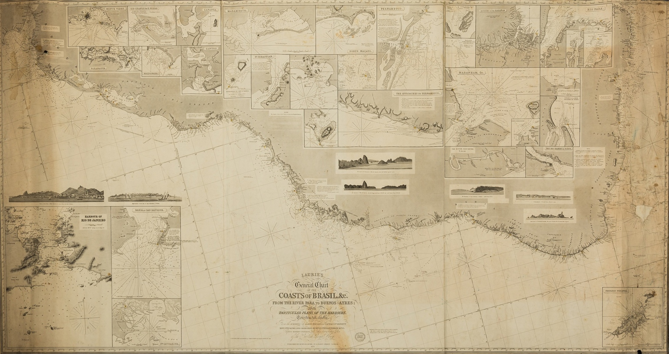 Coastal Charts.- Maritime navigation.- Laurie (Richard H.) Laurie's General Chart of the Coasts of …